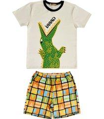 conjunto pijama de crocodilo douvelin bege - bege/laranja - menino - algodã£o - dafiti