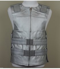 silver leather motorcycle vest  bulletproof style - pwvests.com