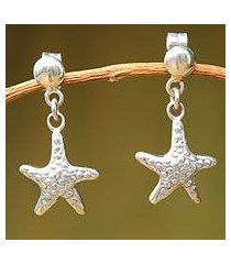 sterling silver dangle earrings, 'starfish of tumbes' (peru)