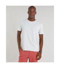 camiseta masculina básica manga curta gola careca cinza mescla claro