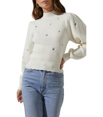 women's astr the label embroidered puff sleeve sweater, size large - ivory