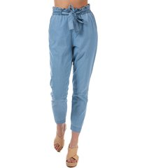 vero moda womens samba chambray trousers size 6s in blue