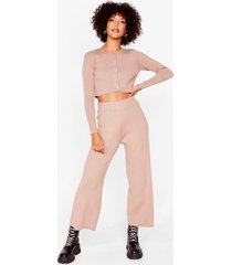 womens knit the lights cardigan and wide-leg pants set - taupe