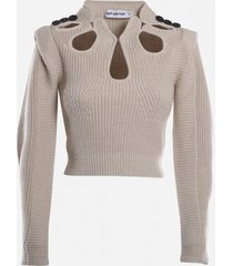 self-portrait cropped pullover in wool blend with cut-out