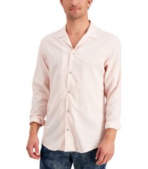 inc international concepts men's regular-fit textured camp shirt, created for macy's