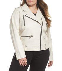 plus size women's levi's lamb touch faux leather moto jacket, size 3x - beige