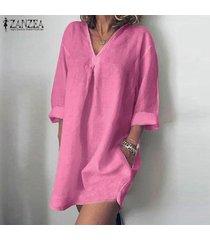 zanzea sólido ocasional de las mujeres con cuello en v tops blusa larga de los vestidos mini vestido largo camisa -rosado