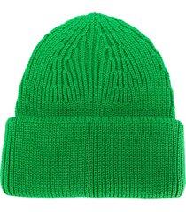 roberto collina ribbed-knit merino beanie - green
