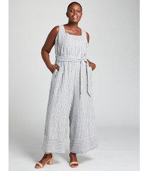 lane bryant women's striped square-neck jumpsuit 26 blue & white stripe