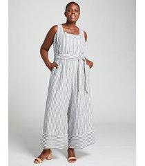 lane bryant women's striped square-neck jumpsuit 28 blue & white stripe