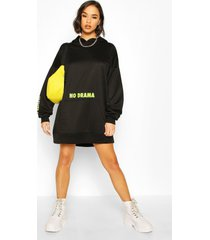 micro slogan hooded sweatshirt dress, black
