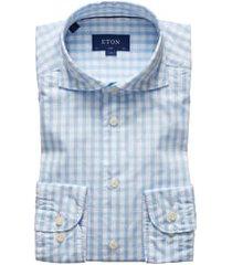 men's big & tall eton soft casual line slim fit plaid shirt, size 18 - blue