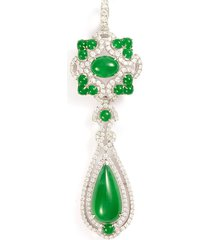 diamond jade 18k white gold pendant