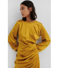 na-kd trend ruched satin dress - yellow