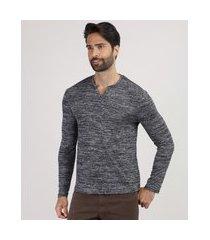 suéter masculino em tricô gola portuguesa cinza mescla