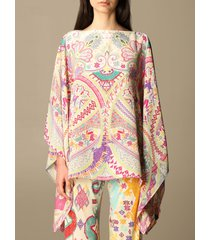 etro top etro kaftan in printed silk