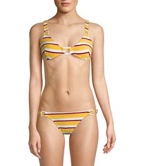 solid and striped women's the tilda striped terry ring bikini top - yellow - size l