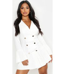 geplooide blazer jurk met franjezoom, wit