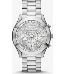 mk orologio runway sottile oversize tonalità argento con pavé - argento (argento) - michael kors