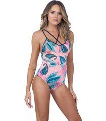 maiô nanui swim strappy audrey rosa/azul