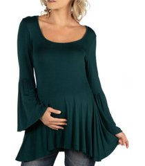 24seven comfort apparel scoop neck bell sleeve swing maternity tunic top