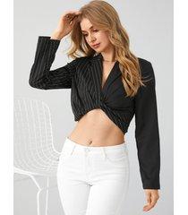 blusa de manga larga con cuello de solapa y diseño cruzado de retazos a rayas de yoins