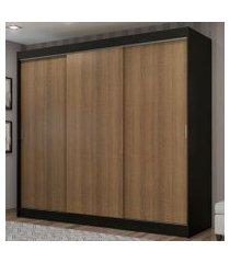 guarda-roupa casal madesa kansas 3 portas de correr 3 gavetas preto/rustic cor:preto/rustic