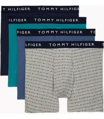 tommy hilfiger men's cotton stretch boxer brief 4pk navy/vintage indigo/logo print on grey heather/bayou - m