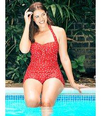 sorrento spot underwire boyleg bunny tie polka dot tummy control one-piece swimsuit d-gg