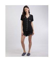 pijama feminino camisa com bolso e vivo contrastante manga curta preto