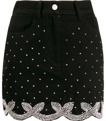 wandering crystal embellished mini skirt - black