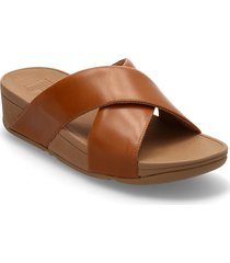 lulu cross slide sandals - leather shoes summer shoes flat sandals brun fitflop