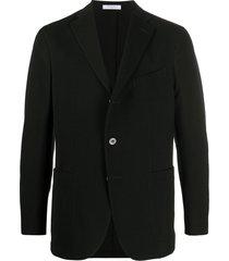 boglioli single-breasted cotton blazer - black