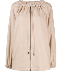 12 storeez loose drawstring-neck wool parka - neutrals