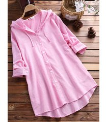 camicia con cappuccio in cotone a righe
