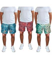 kit 3 shorts praia tactel estampado bolsos laterais cós de elástico 397