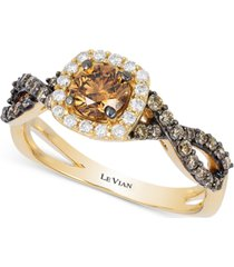 le vian chocolatier diamond halo ring (7/8 ct. t.w.) in 14k gold