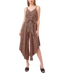 vince camuto printed tie-front jumpsuit