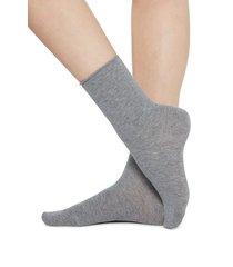 calzedonia short cotton socks with comfort cut cuffs woman grey size 39-41