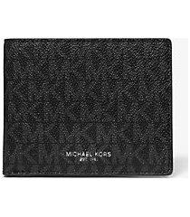 mk portafoglio a libro greyson sottile con logo - nero (nero) - michael kors