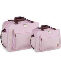 kit bolsas bebê maternidade rosa infant 2 peças griff - tricae