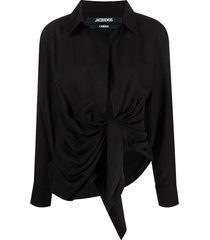 jacquemus spread-collar tie-fastening top - black