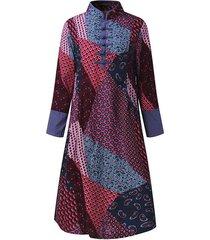 zanzea fall para mujer floral de la vendimia impresión floja holgados vestidos de manga larga túnica de vestido a media pierna -rojo