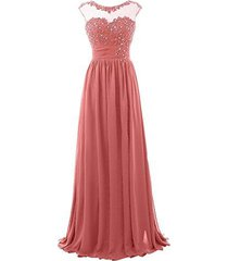 blevla cap sleeve sequined chiffon bridesmaid prom dresses formal gowns coral...