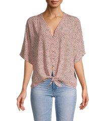 rails women's thea spot-print tie-front top - rose spots - size s