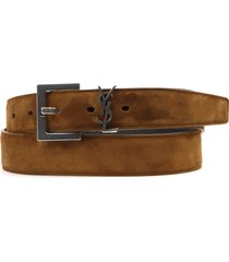 saint laurent land suede leather ysl monogram belt