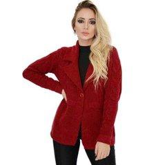 casaco livora sobretudo social tricot botões feminina - feminino
