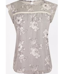 maurices womens white floral ruffle sleeve blouse