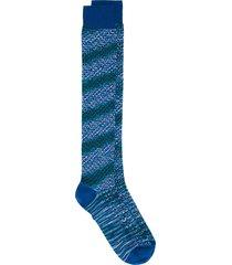 missoni crochet-knit striped socks - blue