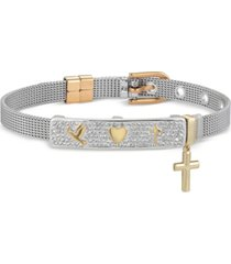 gratitude & grace crystal dove, heart, and cross mesh bracelet in fine silver-plate & gold flash